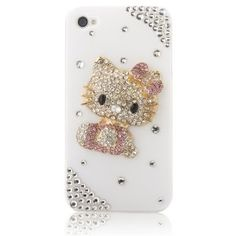 Amazon.com: MinisDesign 3D Bling Crystal Flat Back Rhinestone Hello Kitty Case for Apple iPhone 4/4S - Pink: Cell Phones & Accessories