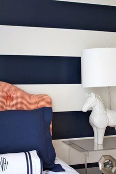 Navy and orange boy's room