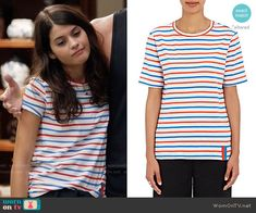 Sabrina's blue and red striped tee on The Mick.  Outfit Details: https://wornontv.net/64153/ #TheMick