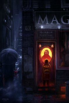 One ticket, please Picture fantasy, city, night, child) by Andreas Rocha Corel Painter, Matte Painting, Fantasy Inspiration, Story Inspiration, Design Inspiration, Cyberpunk, One Ticket, Digital Art Gallery, World Of Darkness