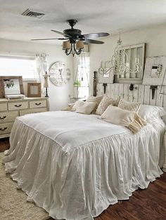 Ruffled Bedspread Shabby Chic Bedding Ruffled Bed Cover Ruffled Coverlet Ruffled Bedding Cotton Bedding Ruffled Bedding - pinupi love to share Shabby Chic Master Bedroom, Bedroom Decor, Chic Furniture, Shabby Chic, Farmhouse Bedroom Decor, Ruffle Bedspread, Chic Bedding, Chic Home Decor, Shabby Chic Homes