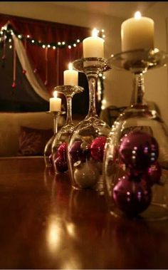 Creative idea using wine glasses and candles for your #Christmas decor!