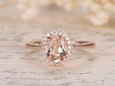 6x8mm Oval Cut Morganite and Diamond Engagement Ring 14k Rose gold Claw Prongs Classic Halo Floral
