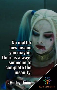 """""""No matter how insane you maybe, there is always someone to complete the insanity."""" - Harley Quinn Regarder Birds of Prey (et la fantabuleuse histoire de Harley Quinn) Film Complet en Streaming VF Harley And Joker Love, Harley Quinn Et Le Joker, Harley Quinn Tattoo, Margot Robbie Harley Quinn, Harely Quinn And Joker, Citations Jokers, Harly Quinn Quotes, Birds Of Prey, Justice League Wonder Woman"""