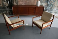 Grete Jalk Lounge Chairs Pair Denmark 1950 ' S Mid Century Eames ...