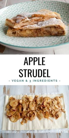 Vegan apple strudel from only 3 ingredients ElephantasticVegan.de Vegan apple strudel from only 3 ingredients ElephantasticVegan. Vegan Sweets, Healthy Dessert Recipes, Cake Recipes, Vegetarian Recipes, Strudel Recipes, Food Cakes, Apple Recipes, Apple Recipe Vegan, Easy Apple Strudel Recipe