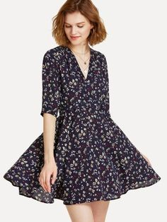 9d98e3244fc0a SheIn offers Fit   Flare Surplice Wrap Floral Dress   more to fit your  fashionable needs.