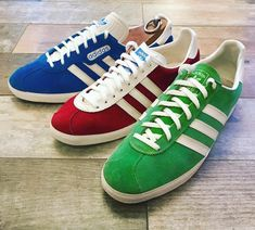 Beautiful Gazelles, from left to right; blue Yugoslavian Gazelle Supers 1987, Gazelle  rot West Germany 1974 and Austrian Gazelle grun from 1983