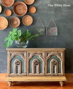 Goldenrod, Charleston Green, and Dried Thyme make a statement on this super cool piece painted by The White Plum! www.wiseowlpaint.com #wiseowlpaint #charlestongreen #goldenrod #driedthyme #painted #dresser #furniture