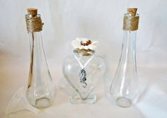 Beach Theme Heart Vase and Seaside Blue Seahorse Pendant Wedding Unity Sand Ceremony Collection Set 3 Glass Vases with Custom Twine and Flower - use wine, water, or sand for a great alternative to the traditional unity candle!