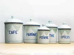 Exceptional set of 5 French enamel canisters set box kitchenware,with shabby chic, french tag,completed collection by FrenchMelody on Etsy https://www.etsy.com/listing/273945590/exceptional-set-of-5-french-enamel