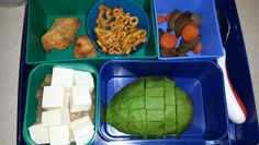 Kid Bento Lunch -Bell and Evans GF chicken nuggets -Annie's pretzels -steak and Steamed carrots -applesauce w/ tofu -avocado