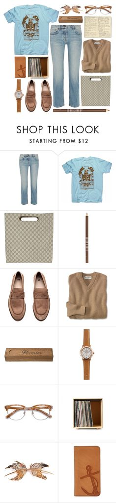 """""""music soulmate"""" by foundlostme ❤ liked on Polyvore featuring The Row, Floyd, Gucci, Lord & Berry, Moleskine, Shinola, Ace, Paco Rabanne, FOSSIL and denim"""