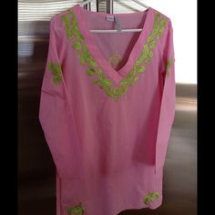Graham Kandiah Cover-up Beautiful, bubble gum pink cover-up/tunic top with lime green embroidered trim.  100% cotton.  Side slits.  Super light material!! Graham Kandiah Tops