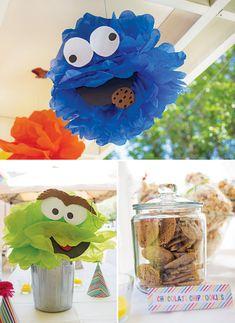 {Adorable!} Backyard Sesame Street First Birthday Party- pom pom decos