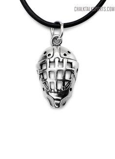 Sterling Silver Necklace Hockey Goalie Mask