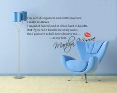 Marilyn Monroe Quote Selfish Removable Vinyl Wall Stickers Art Home Decor Mural