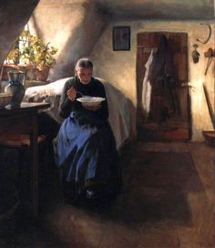 The poor woman's home, Tivadar Zemplényi, 1894. ~ How little we truly need. Warm clothes, comfortable bed, hot broth, sunlight coming through a potted flower by a sparkling clean window, and the peace of knowing we recognize the beauty of this world.