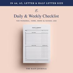 Daily Checklist Weekly Checklist Checklist Printable | Etsy To Do Lists Printable, Schedule Printable, Weekly Schedule, Weekly Planner, Printable Planner, Printables, Chore Checklist, Daily Checklist, School Planner