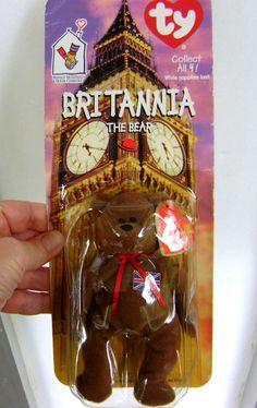 Bear Brown Ty Britannia Beanie Babies Union Jack by VintageVigo
