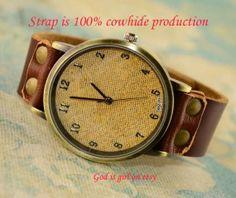 Pure leather strap retro nostalgic style watch  by Godisgirl, $13.99