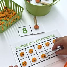 Self-correcting 10 Frame Pumpkins. Scary Good Morning Work - Over 30 activities focused on fine motor to make your mornings the best part of the day. Fall Preschool Activities, Fine Motor Activities For Kids, Work Activities, Differentiated Kindergarten, Differentiated Instruction, Number Recognition Activities, Work Stations, Math Stations, 10 Frame
