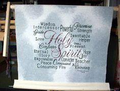 Holy Spirit stitched by Teresa Brown Favorite Bible Verses, Trust God, Holy Spirit, Cross Stitch Embroidery, Holi, Diy And Crafts, Wisdom, Peace, Joyful
