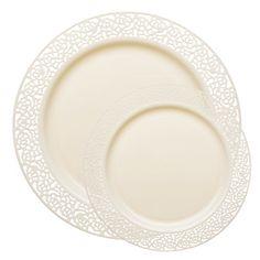 1258 Lace Ivory Plastic Dinnerware Value Set  sc 1 st  Pinterest & 120 of 10 1/4 7 1/4