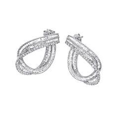 1.05 Ct Round & Baguette Cut Natural Diamond 14K White Gold Drop Earrings #OmegaJewellery #Drop #EngagementWeddingAnniversaryPromiseValentine