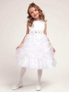 White Princess Gathered Organza Dress w/Satin Bodice