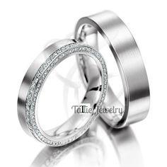 Matching Wedding Rings,10K White Gold Diamond Wedding Bands,His & Hers Wedding Rings,Womens Wedding Rings,Mens Wedding Bands,Diamond Rings