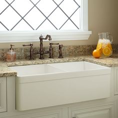 "33"" Baldwin Double-Bowl Fireclay Farmhouse Sink - Decorative Lip - Biscuit - Kitchen"