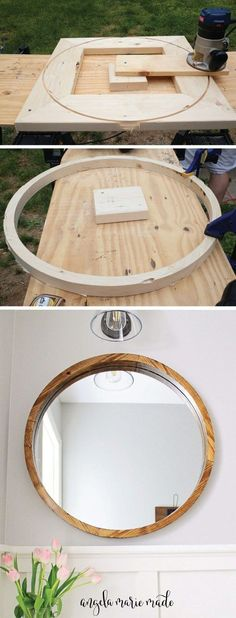 How to build a round wood framed mirror for less than $50! Rustic, modern farmhouse mirror DIY for a small bathroom makeover! Click to get the free build plans!