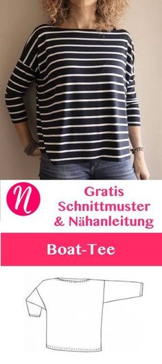 Gratis Schnittmuster Oversize-Shirt mit U-Boot-Ausschnitt. PDF-Schnitt zum Ausdrucken. Lagenlook ❤ Nähtalente - Magazin für kostenlose Schnittmuster ❤ Free sewing pattern for an oversized shirt for woman. Doman sleeves - kimono style.
