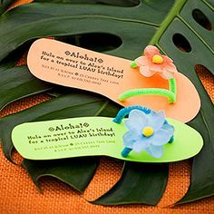 Luau-Theme Birthday Party: Flip Flop Invites Send the party details on invites in the shape of a summer sandal to get kids excited about the luau birthday bash. Ask guests to come dressed in their be (Diy Birthday Party) Aloha Party, Party Hawaii, Hawaiian Luau Party, Hawaiian Birthday, Tiki Party, Luau Birthday, Tropical Party, Birthday Party Themes, Hawaiian Party Outfit