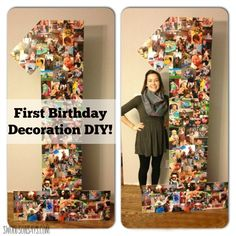 How to make a cheap first birthday party decoration from cardboard & photo prints! Easy, fast, and cheap.