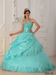 Turquoise Strapless Appliques Quinceanera Party Dresses for 2014