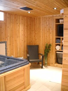 whats more custom then a sauna room complete with a hot tub TV and sitting area! Custom Home Builders, Custom Homes, Sauna Room, New Home Construction, Sitting Area, Home Renovation, Tub, New Homes, Floor Plans