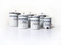 French Enamel Canisters  Set of 6 French by FrenchVintageShop, €90.00