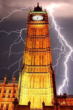 Lightning, Big Ben, England