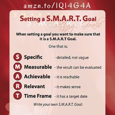 Don't just set a goal, set a S.M.A.R.T. Goal! Learn how to set a specific, measurable, achievable, relevant, time framed goal now! amzn.to/1Q14G4A Career Coach, Make Sense, Coaching, Goals, Learning, Frame, Cards, How To Make, Training