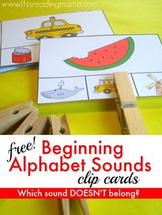 FREE Beginning Alphabet Sounds Clip Cards: Which Sound is Different?