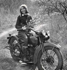 Vivian Bales an american pioneering motorcyclist on her 1930 Harley-Davidson.