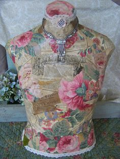 Vintage Wallpaper and 1870s Newspaper Paper Mache Dress form Torso Mannequin Display Antique Rhinestone Necklace FREE SHIP USA