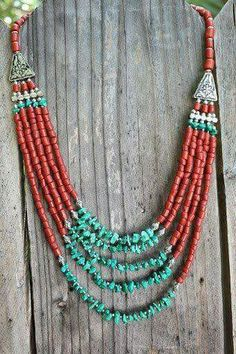 Bohemian Stunning Native inspired bib necklace with Red corals and Turquoise beads Ethnic Boho Chic necklace Layering necklace. I like the silver spacers between the chip beads Turquoise Jewelry, Boho Jewelry, Jewelry Crafts, Beaded Jewelry, Jewelery, Handmade Jewelry, Jewelry Necklaces, Jewelry Design, Fashion Jewelry