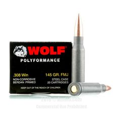 Wolf 308 Win Ammo - 500 Rounds of 145 Grain FMJ Ammunition #308Winchester #308WinAmmo #Wolf #WolfAmmo #Wolf308Win #FMJAmmo #WolfPolyformance