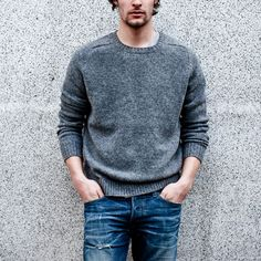 Simple and classic granite wool jumper