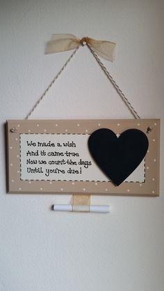 New Baby Pregnancy Countdown Plaque Chalkboard Handmade Gift Present Shabby Chic…