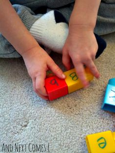 Literacy activities using Mega Bloks: matching uppercase and lowercase letters from And Next Comes L