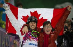 Canadian Alex Bilodeau wins gold and celebrates with his brother, Frederick, who has cp. At the Winter Olympics in Sochi, the finals of the Men's Moguls was held at Rosa Khulor Extreme Park. Olympic Athletes, Olympic Team, Olympic Games, Special Olympics, Winter Olympics, Jean Paul Ii, Brother Photos, Olympic Gold Medals, Commonwealth Games